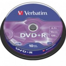 Диск DVD+R VERBATIM 4.7Gb 16x Cake Box (10шт)